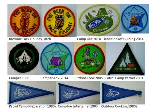 Picture of 11 badges relating to camping