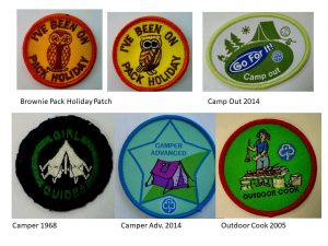 Picture of 6 badges relating to camping